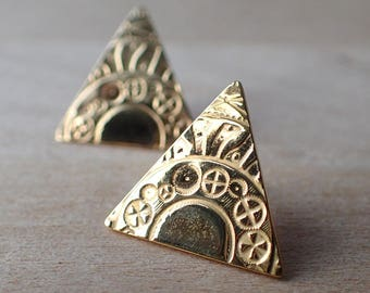 Triangle Gold Stud Earrings, Industrial Cogs, Coin Stamped SALE 50% OFF