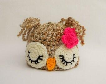 Baby Girl Owl Hat, Baby Photo Prop, Newborn Girl Hat, Newborn Photography Props, Newborn-3 months, 3-6 months, 6 to 12 months, UK SELLER Owl