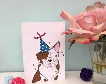 Brown and white dog blue polka dot party hat illustration blank greeting card birthday card A6 size, white envelope, 300gsm card, dog lover