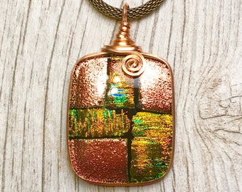 Time For Tea Dichroic Glass Pendant, Dichroic Glass Jewelry