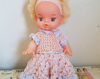 Vintage Kewpie Kitsch girl doll  with hair crochet dress baby cupie sixties nursery decor retro toddler curvy body positive