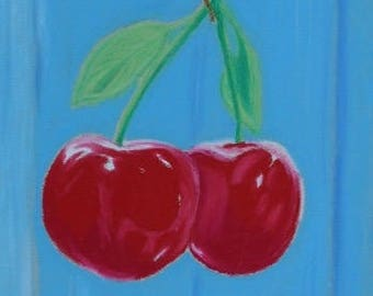 "Oil Pastels - *Framed Original* - ""Cherries"""