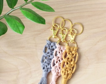 Grey Soft Cotton Macrame Keychain with Gold Swivel Snap Hook