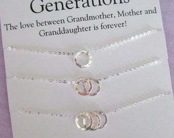 GENERATIONS Necklace. 60th Birthday GRANDMOTHER Gift. Grandmother Granddaughter. Mother Daugher Necklace. Grandmother Necklace