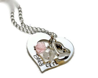 Baby Girl Heart Charm Necklace, Gifts For Girlfriend , Submissive Jewelry , Anniversary Gift , Bdsm Necklace , Charms For Collar