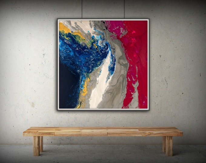 Pink Art Square Wall Art Prints Fine Art Prints Abstract Painting Wall Decor Art Print Blue Painting Large Abstract Gift for Girlfriend