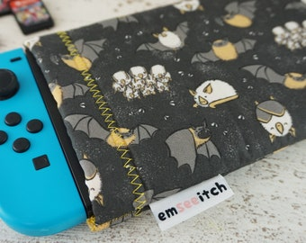 Hons & Pips - Cute Honduran and Pipistrelle Bat Animal Patterned Nintendo Switch Protective Fabric Pouch Case