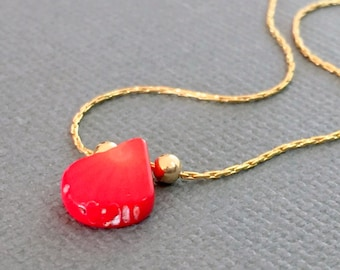 Genuine red Coral gold necklace, Coral gold necklace, Red gold necklace, Gold necklace, Red gold jewelry, Dainty red gold necklace