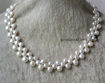 pearl necklace - 3 rows 16-17 inches Freshwater Pearl necklace,ivory pearl necklace, choker pearl necklace, triple strand pearl necklace