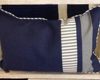 Navy striped cushion