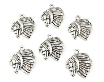 6 indian chief head charms antique silver ,22mm # CH 173