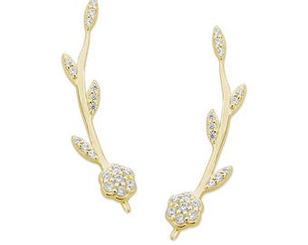 Flower Power Ear Pin - 18k gold - Ear Climbers - Ear Sweep - Dainty Earrings - Gift for her - Gift for mom - Christmas Gift - Make a wish