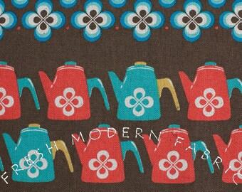 Fat Quarter Ruby Star Shining Teapot Stripe in Brown, Melody Miller for Kokka Fabrics
