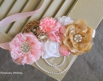 Gold Pink Belly Sash, Pink Gold Maternity Sash, Girl Maternity Sash, Baby Shower Sash, Gold Flower Girl Sash, RTS, Pink, Gold, White