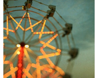 Fair Photograph - Ferris Wheel Photograph - Fine Art Photography - Summer - Fair - Michigan - Lights - Blur - Original Art - Double Trouble