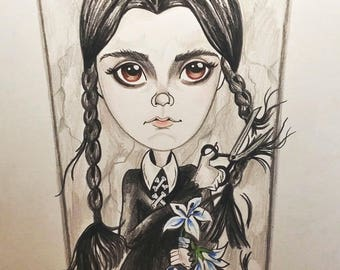 Wednesday Cuts Her Hair Horror Fantasy Lowbrow Art Print by Leslie Mehl 8.5 X 11