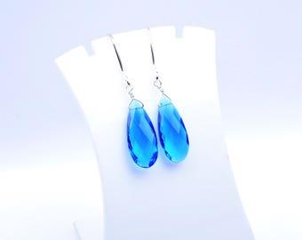 Handmade 925 Silver Quartz Silver Earrings,Silver Earrings,Pear Earrings,Electric Blue Briolette Wire Wrapped Earrings (2637)