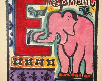 """Hand Painted Silk Screen """"ELEPHANT"""" by Walter Inglis Anderson, Pinks & Reds, Printed by Rose Williams, Whimsical Pink Elephant Painting"""