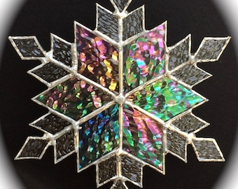 stained glass snowflake suncatcher (design 9)