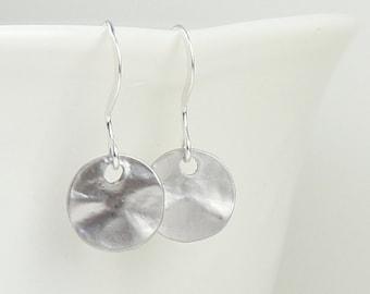 Tiny Matte Silver Dangle Earrings, Hammered Silver Earrings, Small Drop Earrings, Small Hammered Silver Earrings, #882
