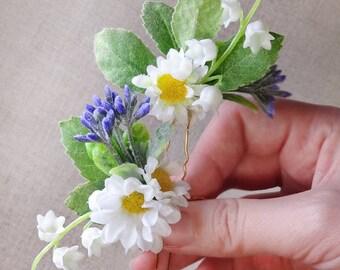 wildflower hair pins, daisy hair pin, floral hair pins, bridal hair pins, lily of the valley hair, daisy hair clip, purple flower, leaves
