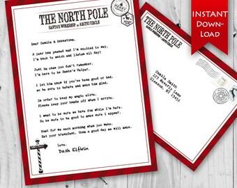 ON SALE! Elf Welcome Letter & Envelope   Holiday Elf   Elf Stationary   North Pole Stationary   Editable {instant download}