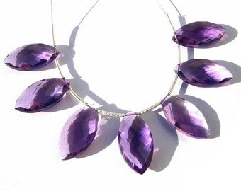 20x10mm AAA Amethyst Faceted Marquise Briolette 7 Pcs 3 Matched Pair and a Focal Pendant High Quality Super Sparkly