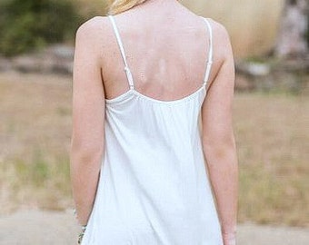 Lace Top Slip extender for dress or skirt to make longer, Mocha or Off White Color cami slip 2 rows lace bottom Lace Slip Extender