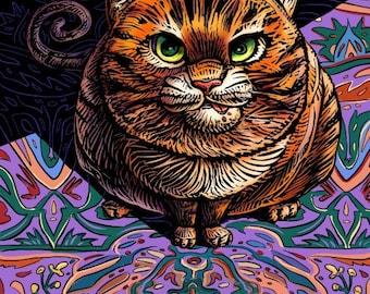 "Never Feed A Cat... 8"" x 10""- Cat Art Print- Cat Wall Decor- Cat Wall Art- Cat Print- Cat Gift"
