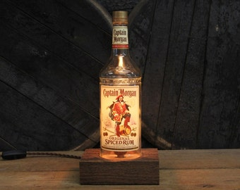 Captain Morgan Rum Bottle Lamp / Rum Bottle Light / Reclaimed Wood Base, Edison Bulb, Twisted Cloth Wire/ Rum Drinkers Gift Upcycled Light