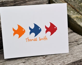 Kids Personalized Note Cards Stationery Fish Design