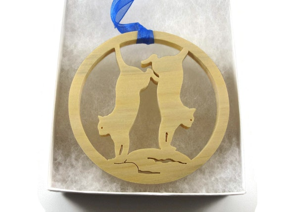 Cats Jumping Around Christmas Ornament Handmade From Birch Wood By KevsKrafts