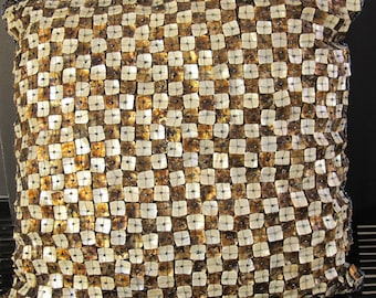 """Vintage 90's brown mother of pearl decorator throw pillow cover 16""""x16"""""""
