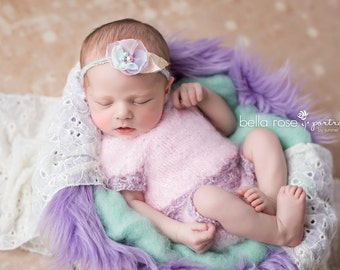 Outfit Photo Prop Newborn Baby Girl Lace Top Shorts Headband Set Diaper Cover Going Home Hand Knit Suit Coming Photography Infant Headdress