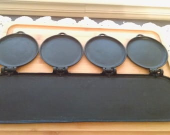 HTF Flop Griddle Pan Cast Iron 4 Plate 1881 S. Mfg. New York Nicely Seasoned