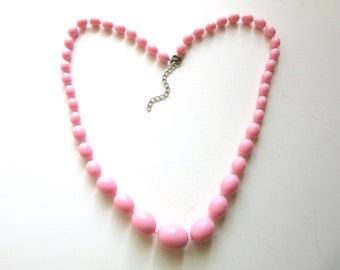 Long Pink Resin Bead Necklace Graduated Beads Single Strand 23 - 25 Inches