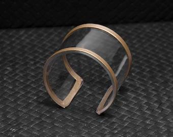 Acrylic (plexiglas/plastic) bracelet, transparent, cuff bracelet, golden accent, hand made