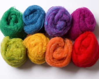 Needle Felting Wool Batting Assortment, Fiber Sampler, Classic Rainbow, Crafting, Wet Felting, Spinning, Supplies