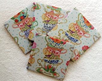 Vintage Tea Party Cups and Saucers set of 4 Ceramic Tile Coasters, Hand Decoupaged, Coffee Table Place Mats, Rustic, for hot and cold drinks