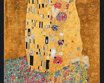 The Kiss Gustav Klimt Art Kaufman Fabric Panel