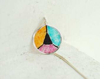 Ready to Ship, Color Block Pendant, Colorful Jewelry, Geometric Triangle Necklace