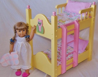 Doll Bunk Bed fits American Girl Doll and 18 inch Dolls with our new Precious Pastel Colored Owl Six piece bedding set