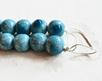 Raku  Beads, Turquoise Raku Beads,  African Beads, handmade ceramic beads, raku fired beads, beads, clay beads, authentic handmade beads