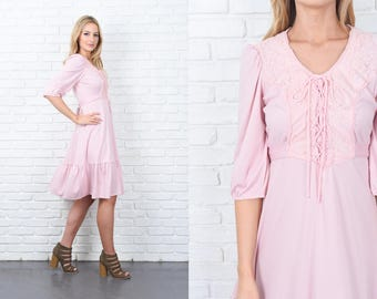 Vintage 70s Lace Pink Dress Boho Hippie Floral Puff Slv Victorian Midi Small S 11248