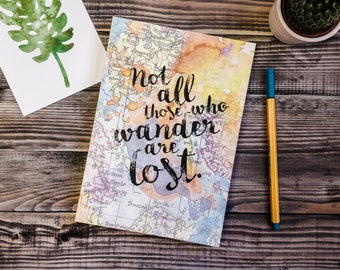 Travel Journal - Not All Those Who Wander Are Lost - J.R.R Tolkien Quote - Inspirational Quote - Writing Journal - Leaving Gift - A5 Journal
