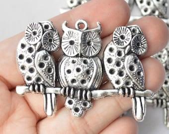 1 Piece Large Owl Pendant Antique Silver Tone 58x40mm - YD1514