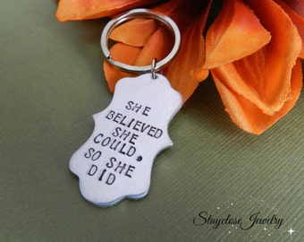 inspirational Keychain, She believed she could so she did, inspiration quote graduation, class of 2018