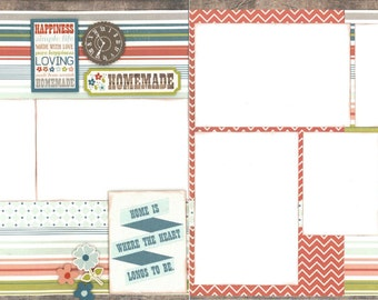 12x12 HOMEMADE scrapbook page kit, premade homemade scrapbook, 12x12 premade scrapbook page, premade scrapbook page, 12x12 scrapbook layout