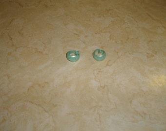 vintage clip on earrings sky blue enamel metal hoops