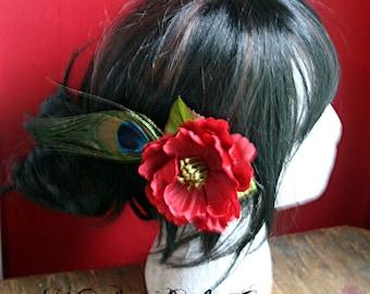 Simple Red Poppy Hair Clip Fascinator - Wedding, Tribal, Belly Dance, ATS, Hair Garden, Peacock Feather